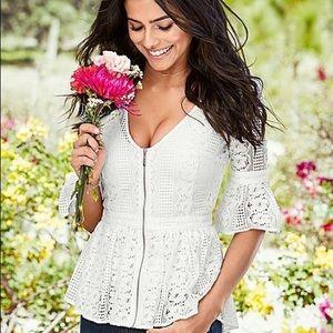 Venus lace zip up blouse